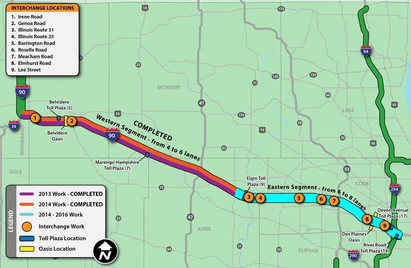 Illinois Toll Roads Map